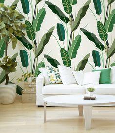 Copacabana Wallpaper 2014 #leaves #leaf #banana #wallpaper #jungle #forest #green #wall #decoration #pattern