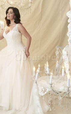 Robe de mariée en dentelle a-ligne de mode de bal manche nulle decoration en fleur