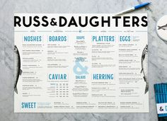 Russ & Daughters Menu #branding #type #restaurant #blue