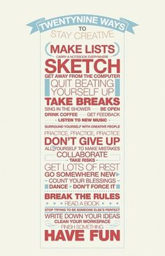 ABC / 29 ways to stay creative #creative #stay
