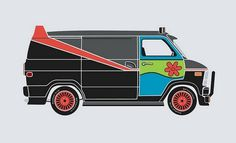 mnky: Movie Cars Body Shop Mixups | WhatsUp Movies - Best Movies, Movie Reviews, Movie Theaters #illustration #van #scooby doo #a-team