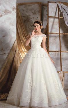 Robe de mariée longue avec manche courte a-ligne avec décoration dentelle appliques