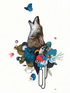 Paintings by Kelly Allen #allen #kelly #howl #illustration #wolf #painting #collage