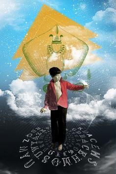 Mathieu Bories Portfolio #clouds #letters #mathieu #sky #boy #child #bories #alphabet #latin #collage