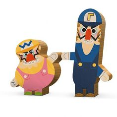 Andrew Kolb Immortalizes Pop Culture Duos With Wooden Figures [Art] - ComicsAlliance | Comic book culture, news, humor, commentary, and revi #waluigi #wood #illustration #figurine #koklb #wario #andrew