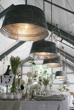 Tub Lights...would these be fun in a barn? #interior #lamp #tub #barn #rustic #design #table #light #country