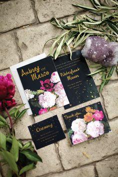 invitations #stationary #setting #fancy #black #floral #invitations #elegant #number #gold #foil #outdoor #table #velvet