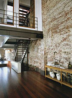 fruittt etc #brick #timber #floor #wall #mezzanine