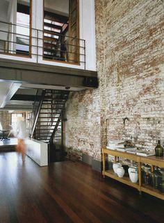 fruittt etc #brick #timber #floor #wall #mezzanine