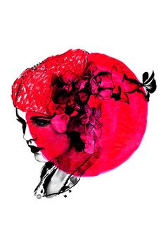 Art Print #red #girl #strawberry #desire #illustration #poster #flower #anger