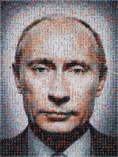 Vladimir Putin Portrait made with 2,500 badges - JOQUZ #badges #putin #portrait #art