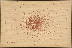 ruscha ants red wood screen print