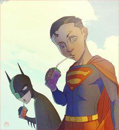 A little Juice b4 Justice by CoranKizerStone on deviantART #batman #superman #batboy #superboy #superhero kids