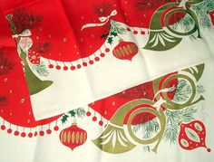 Vintage Tammis Keefe Christmas Tablecloth MCM by vintagedame #christmas #mid #vintage #century