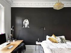 stadshem black walls bedroom #interior #design #decor #deco #decoration