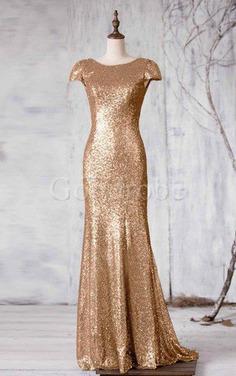 Robe demoiselle d'honneur longue naturel avec manche courte de sirène en tissu pailleté