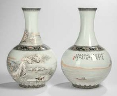 Pair of vases with winter landscape, bez. He Xuren (1882-1940) #porcelain