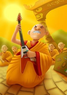 40 Great Illustrations by Matthew Vimislik » Design You Trust – Social design inspiration! #guitar #buddhism #tibet #illustration #monk #cartoon #dharma