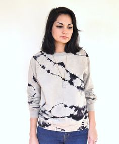 Hand Dyed Striped Sweater Black and Taupe River Rock Pattern #dye