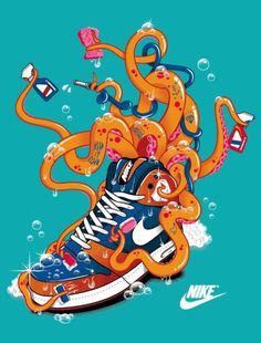 Vector Art & Artists Collective - Blood Sweat Vector #candies #2012 #april #octopus #shirt #nike #tokyo