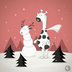 Lonelypeopleart :: Illustration • One day I want to build a snowman on my own…… ... #giraffe #illustration #animals #xmas #lonelypeopleart
