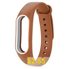 Double-color #Anti-lost #Design #TPE #Wristband #for #Xiaomi #Mi #Band #2 #- #COFFEE #AND #WHITE