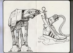 Moleskine/AT-AT/Shoes #white #at #book #black #wars #illustration #art #moleskine #star