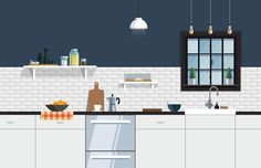 Kitchen Illustration – Nathan Manire #retro #icons #theme #illustration #vintage #study #midcentruy #decoration #modern #design #color #geometric #kitchen #series #tile #room #flat #soundfreaq #subway #industrial #interior #decor #home #simple