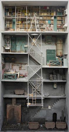 CJWHO ™ (Miniature libraries of Marc Giai Miniet | via ...) #crafts #design #books #crazy #art #library #miniature
