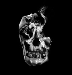 tomsewell.jpg #abstract #bw #skull #collage #dark