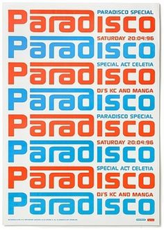 Paradiso / Posters 1 - Experimental Jetset #poster #experimental jetset #1990s #paradisco #amsterdam