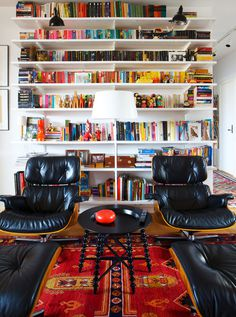 Design, Color and Shape in Swedish Apartment #interior #homeoffice #sweden #bookshelves #workplace #design #books #decor #swedish #armchait #workspace