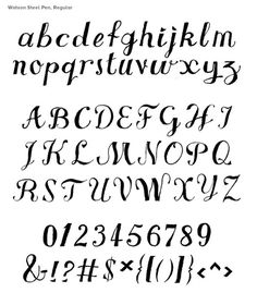 watson steel pen glyphs.jpg #font #chris #script #inked #hand #watson #characters