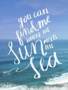 Sun & Sea Print // Artist: Melissa Flower #typography #handdrawn #handmadetype #sun #sea #ocean #blue #waves #photo
