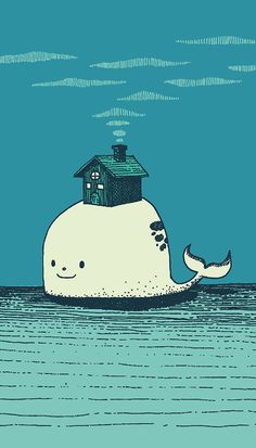 GYKS on Behance #sia #whale #house #dream #art #illustration #drawing #colors