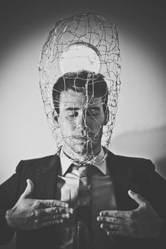 Confined by ~Trosious on deviantART #frame #white #black #portrait #wire #confined