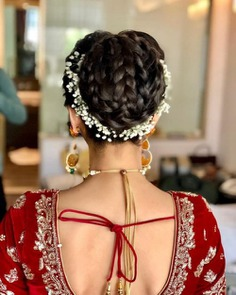 The Elegant Three Braid Hair Bun With Gajra