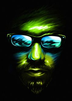 POINT OF VIEW on Behance #glasses #black #baimu #illustration #photoshop #portrait #face #view #adobe #green