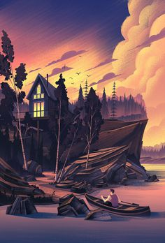 2014 · The Cabin #illustration #landscape