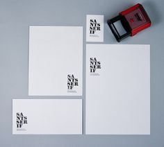 santsserif on the Behance Network #stamp #white #spain #business #branding #rubber #card #black #and #type #letterhead #typography