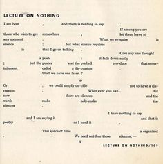 Lecture on nothing :: John Cage #lecture #cage #john #typography