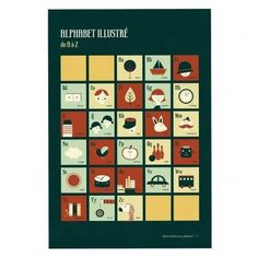 Retro alphabet poster by Blanca Gomez - Green and orange - Smallable #blanca #smallable #retro #illustration #alphabet #gomez