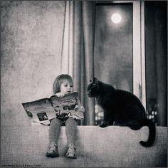 Little Girl and Her Cat #cat #girl