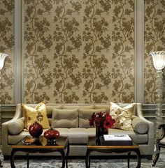Luxury sofa and art wallpaper