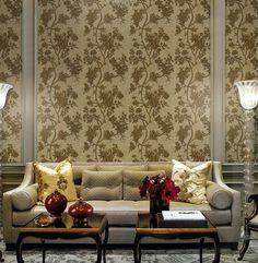Luxury sofa and art wallpaper