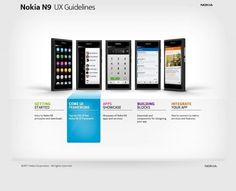 The website design showcase of Nokia N9 UX Guidelines. #perspective #grid