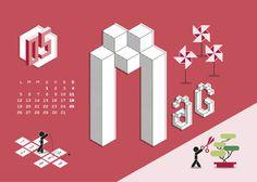 Calendario Algoritmo 2014 on Behance #year #month #calendar #months #calendar2014 #illustration #autumn #2014 #summer #spring #winter