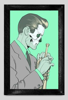 Oliver Barrett — Supersonic Invitational #jazz #retro #mint #illustration #portrait #musician #skull #50s #green
