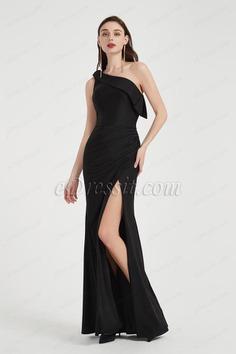 Sexy Black One Shoulder High Slit Party Evening Dress-eDressit (00202100)