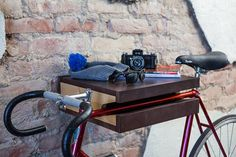 FIXA Bike Shelf Doubles as a Table with Storage Photo #interior #brick #design #wall #bike #deco #decoration